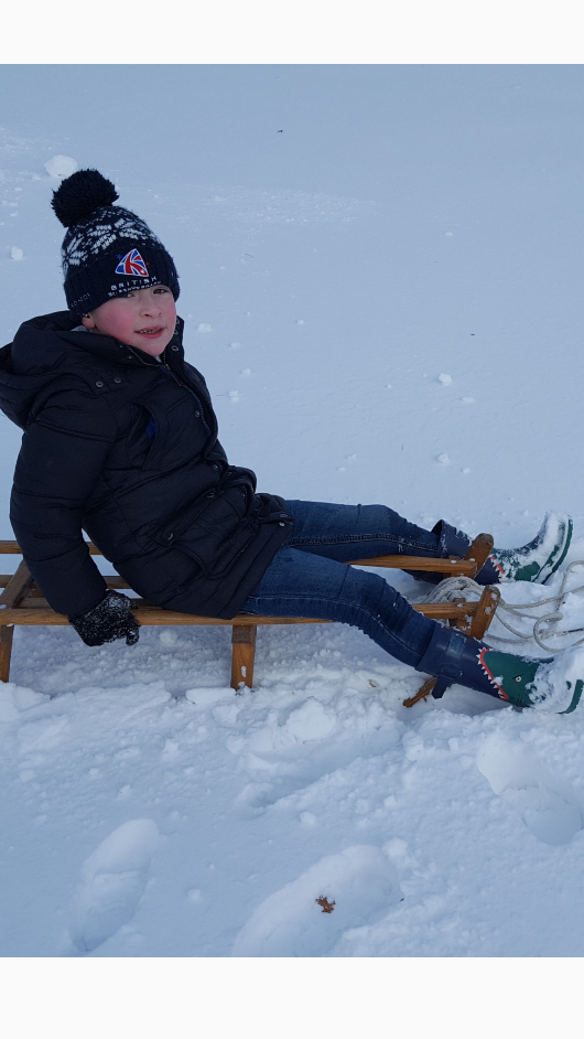 Harry sledging in the snow